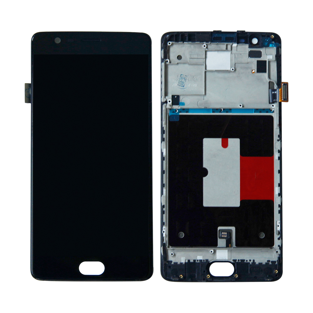 Free Shipping For OnePlus 3 Three A3000 A3003 Touch Screen Digitizer LCD Display Frame Assembly Replacement