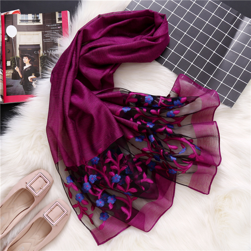 2019 designer brand women   scarf   fashion spring summer silk   scarves   Hollow floral lady shawls and   wraps   pashmina foulard stoles