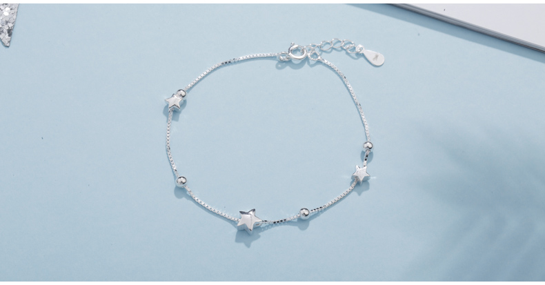 SA SILVERAGE 925 Sterling Silver Charms Bracelets Bangles for Women 925 Silver Star Ball Chain Link Bracelets Pulseira Feminina