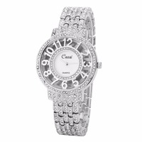 CUSSI 2018 Womens Watches Rose Gold Luxury Rhinestone Ladies Bracelet Watches Fashion Dress Quartz Wristwatch Reloj