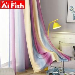 Roxo moderno ondulado gradiente listra cortinas blackout para sala de estar all-match sheer tule tecido cortinas do quarto DF107-30