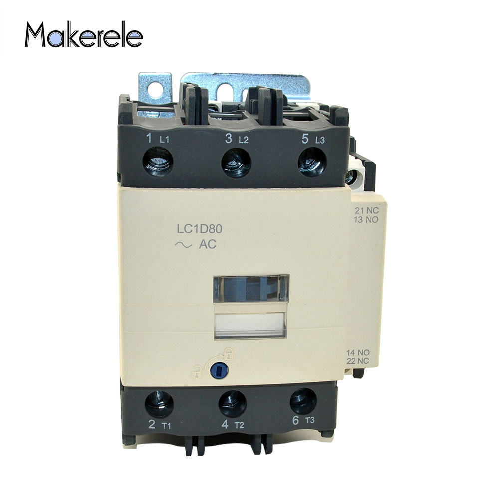 High Quality Electromagnetic Contactor 80Amp LC1D80 M7C  220V Single Phase Price With 85% Silver Contacts Makerele