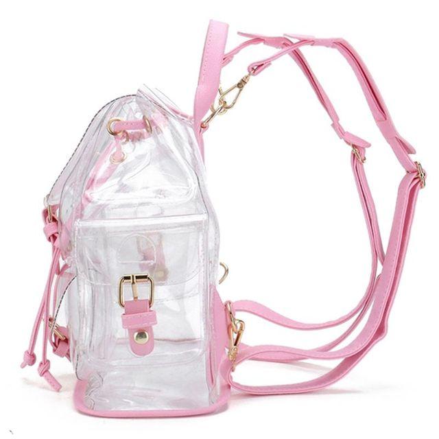 401fbf52f96e Новая мода для девочек розовый прозрачный милый водостойкий ПВХ прозрачный  Рюкзак Школьная Сумка Дорожная сумка (