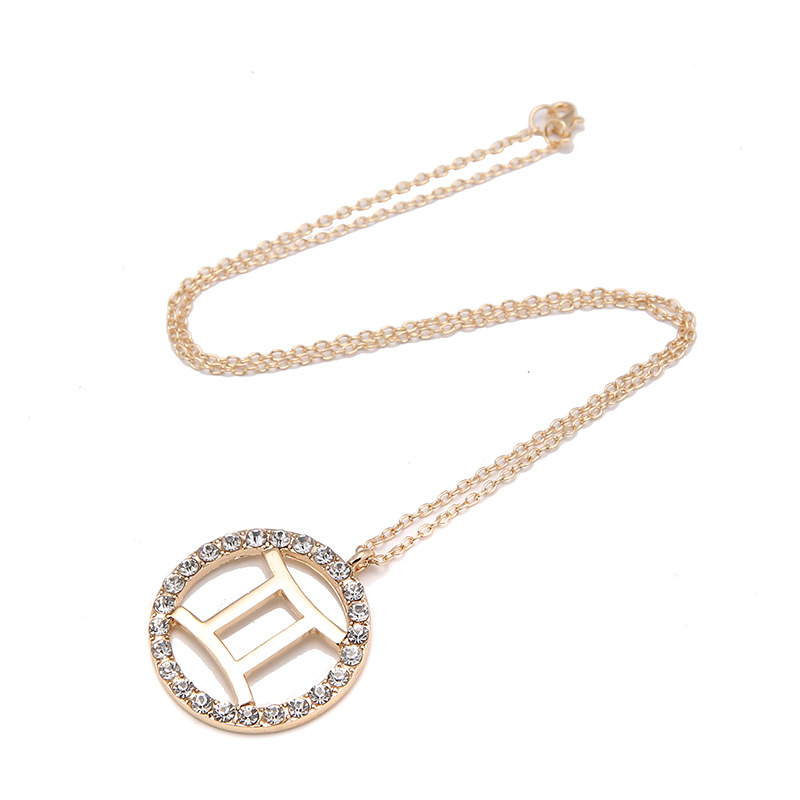 12 Constellation Design Pendant Necklace Copper Cubic Zirconia Zodiac Sign Necklace Birthday Gifts zodiac necklace