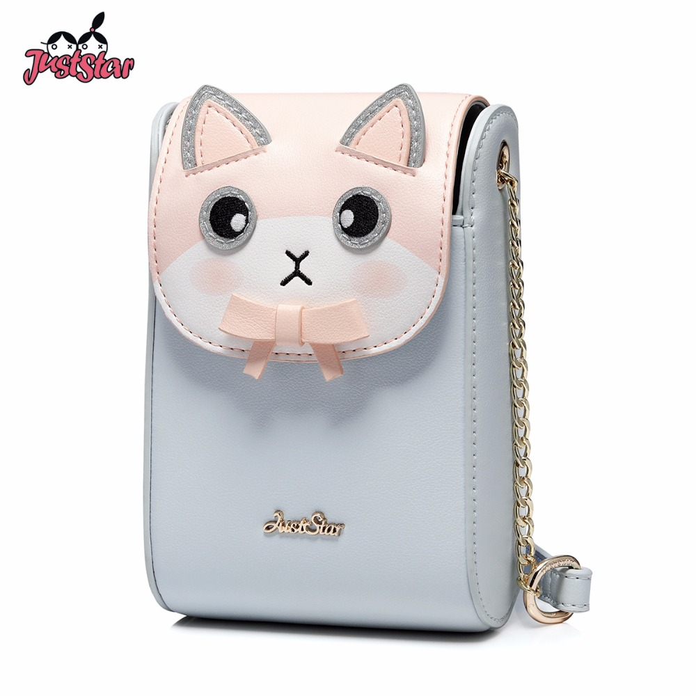 JUST STAR Women's PU Leather Messenger Bag Ladies Cartoon Rabbit Summer Purse Female Chains Mini Phone Crossbody Bags JZ4534 star island summer