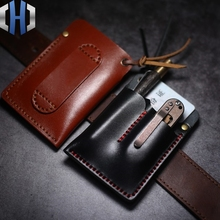 Simple EDC Holster Tool Set Knife Small Wallet ID Card Real Leather Tanned Handmade