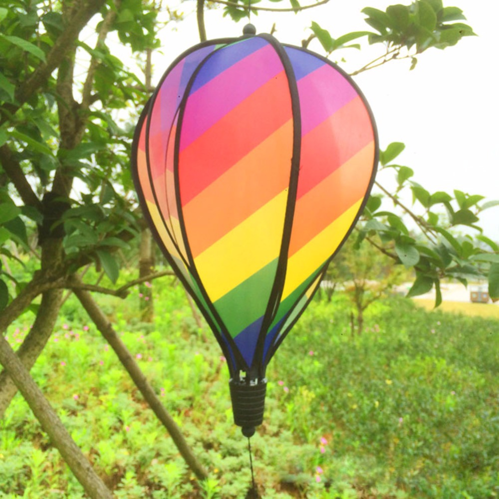 Colorful Rainbow/Grid Hot Air Balloon Stripe Windsock Wind Spinner ...