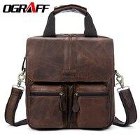 OGRAFF Men Bag Genuine Leather Handbags Men Brand Designer Cowhide Leather Men Shoulder Bags Men