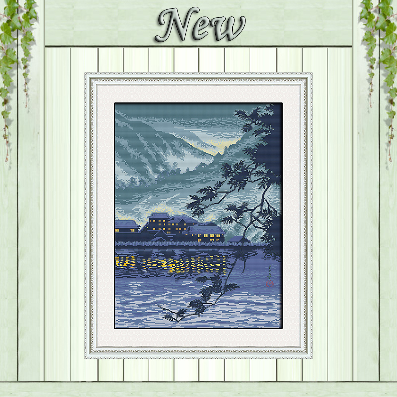 household by the river celadon diy painting Counted print on canvas 14CT 11CT chinese Cross Stitch Needlework kit Embroidery Set
