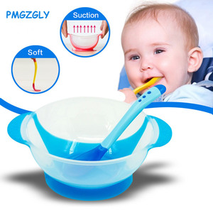 Children's Tableware Baby Learning Dishes With Suction Cup Assist Food Bowl Temperature Sensing Spoon Baby Feeding Bowl(China)