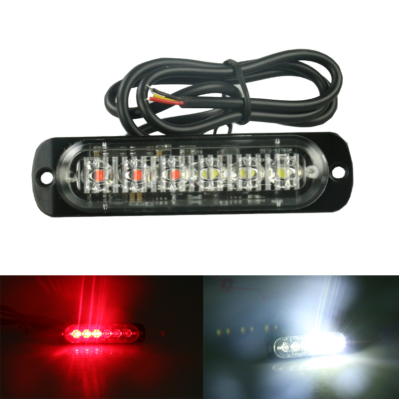1pc 12 24V Side Strobe Marker Lights Car Truck 6 LED Amber Flashing Emergency Hazard Warning Lamp Clearance light blue red