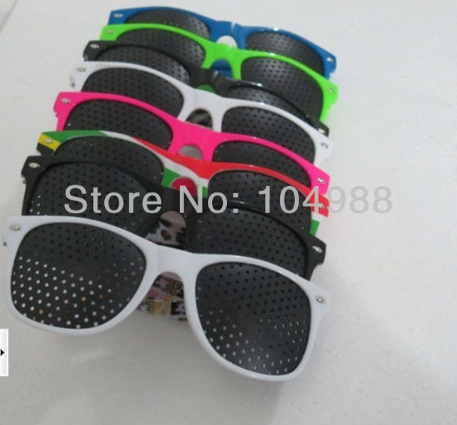 2015 Wholesale Cheap 20 pcs Woman Vision Care Pinhole Eyeglasses Eye Exercise Eyesight Improve plastic 8 Colors