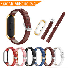 цена на Leather Wrist Band Bracelet Strap For Xiaomi Mi Band 3 Strap MiBand 3 Smart Watch Wristband Replacement Bracelet for Mi Band 4/3