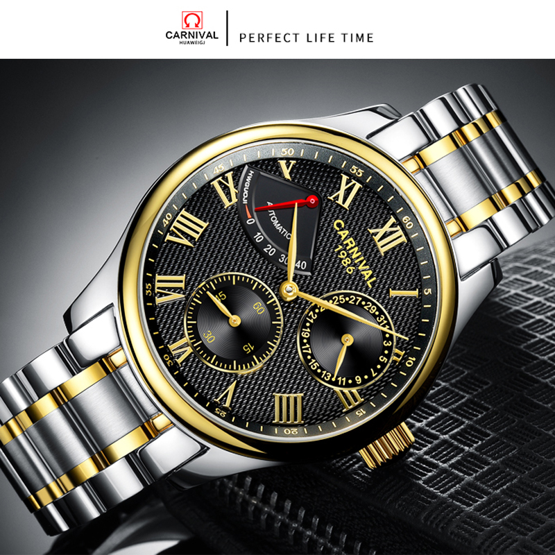 Image 3 - Seiko Automatic Movement Carnival Top Brand Luxury Men Mechanical Watch relogio masculino Clock Stainless Steel Strap Men Watch-in Mechanical Watches from Watches