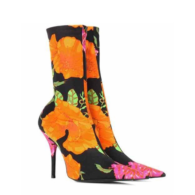 23d6499ccb9 US $64.4 30% OFF|Fashion Stretch Fabric Sock Boots High Heels Knife Boots  Pointed Toe Runway Catwalk Women Boots Spring Pumps Mid Calf Booties-in ...