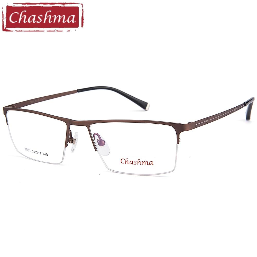Chashma Brand Men Optical Eyeglasses Fashion Gentlemen Eyeglasses Half Frame Prescription Spectacles for Male Alloy Frames