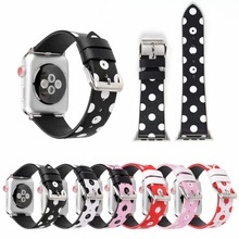New Women Colorful Lovely Leather Bracelet Strap Watch Band for Apple Watch Series 3/2/1 Korea style watch band