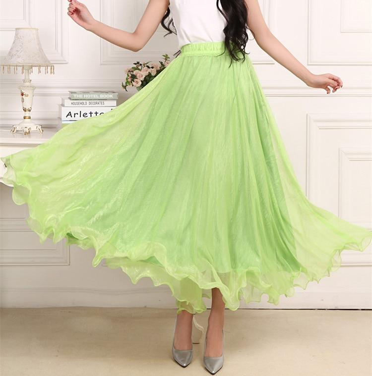 Sherhure 19 High Waist Women Chiffon Long Skirts Floor Length Ruffles White Summer Boho Maxi Skirt Saia Longa Faldas 29
