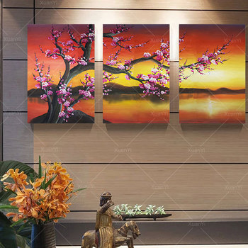Hand Painted 3 Piece Wall Painting Red Flower Oil Painting Abstract Modern Canvas Wall Art Living Room Decor Picture фото