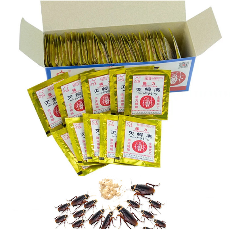100Pcs Cockroach Killing Bait Powder Repeller Killer Trap Anti Pest Effective Control Products