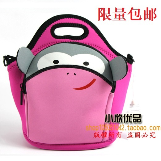Cartoon thermal neoprene lunch bag food bags Waterproof thick heated fresh package thermostated one shoulder bag child