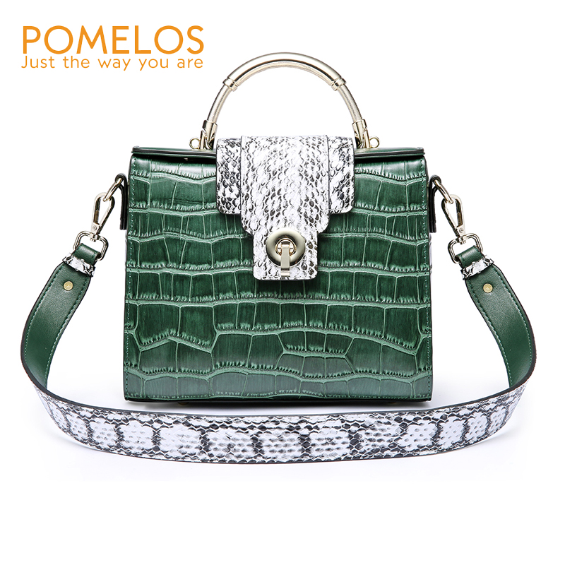 POMELOS Women Handbags Fashion Genuine Leather Bags For Women 2018 Crocodile Pattern Shoulder Bag Luxury Bag Satchel Designer lgloiv real crocodile luxury handbags women bags designer with logo satchel custom made 2018