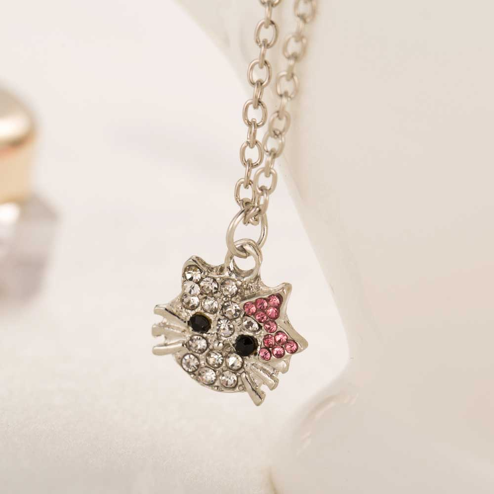 Ailend New Crystal Stud Earrings Rhinestone Hello Kitty Earrings Bowknot Jewelry For Girls Ring,earring And Necklace Set #3