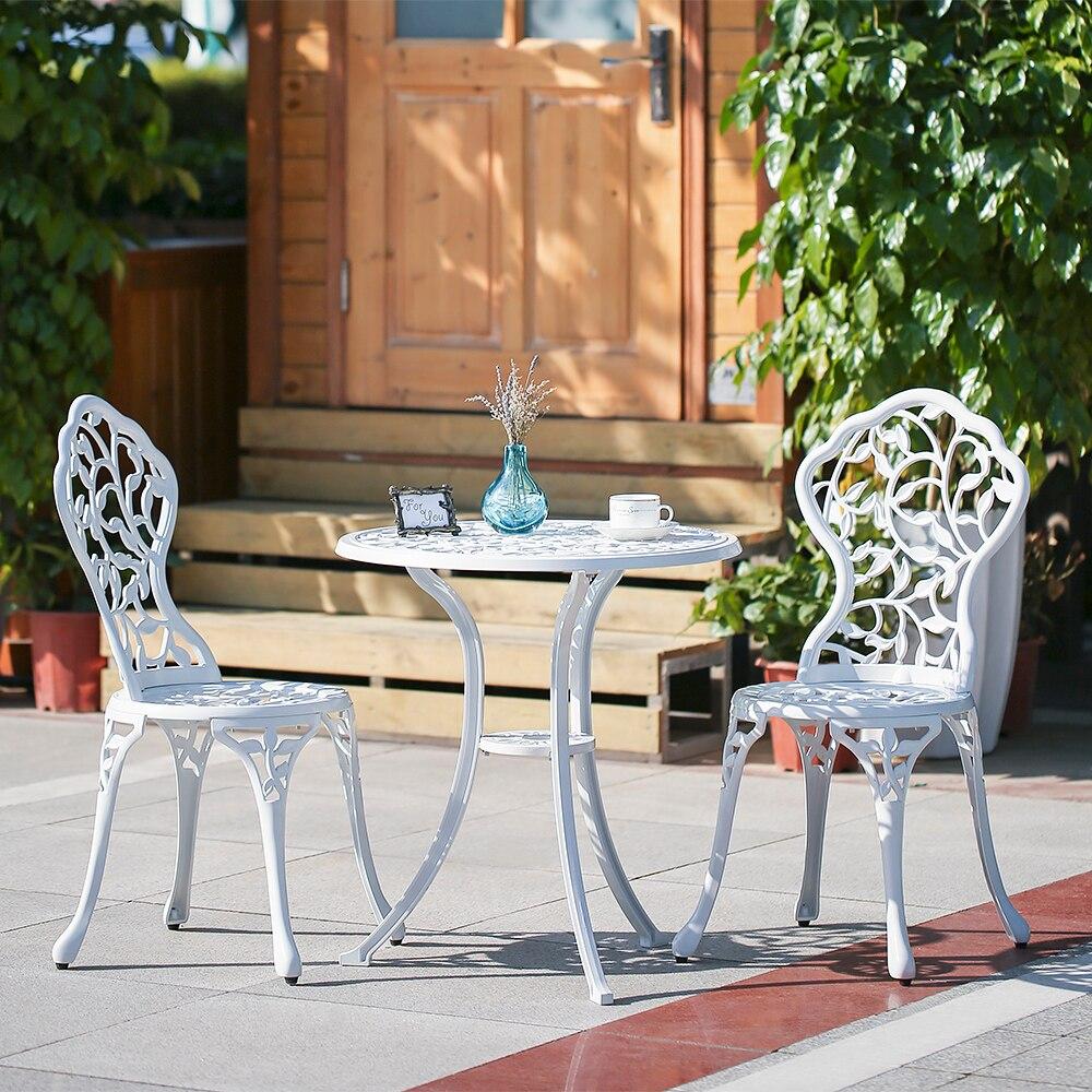 Strange Ikayaa 3Pcs Modern Outdoor Patio Set Black White Aluminum Ibusinesslaw Wood Chair Design Ideas Ibusinesslaworg