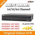 2017 inglês cctv dahua nvr gravador de vídeo em rede 8ch nvr5816-16p-4ks2 nvr5832-16p-4ks2 nvr5864-16p-4ks2 poe apoio e 8hdd