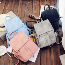 PU Fashion New Women Small  Travel Leather Rucksack Shoulder Bags Nylon Fabric Solid Color