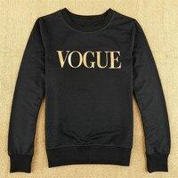 VOGUE Gold Print Tshirt Women Tops Autumn Long Sleeve T Shirt Cotton Pullover T Shirt Women