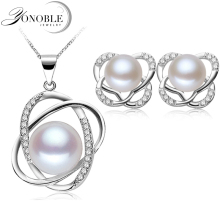 Real Freshwater Natural Pearl Jewelry bridal Jewelry Sets 925 silver jewelry Earring Pendant White Girl Birthday Gift Top Grade бра mela 2690 1w