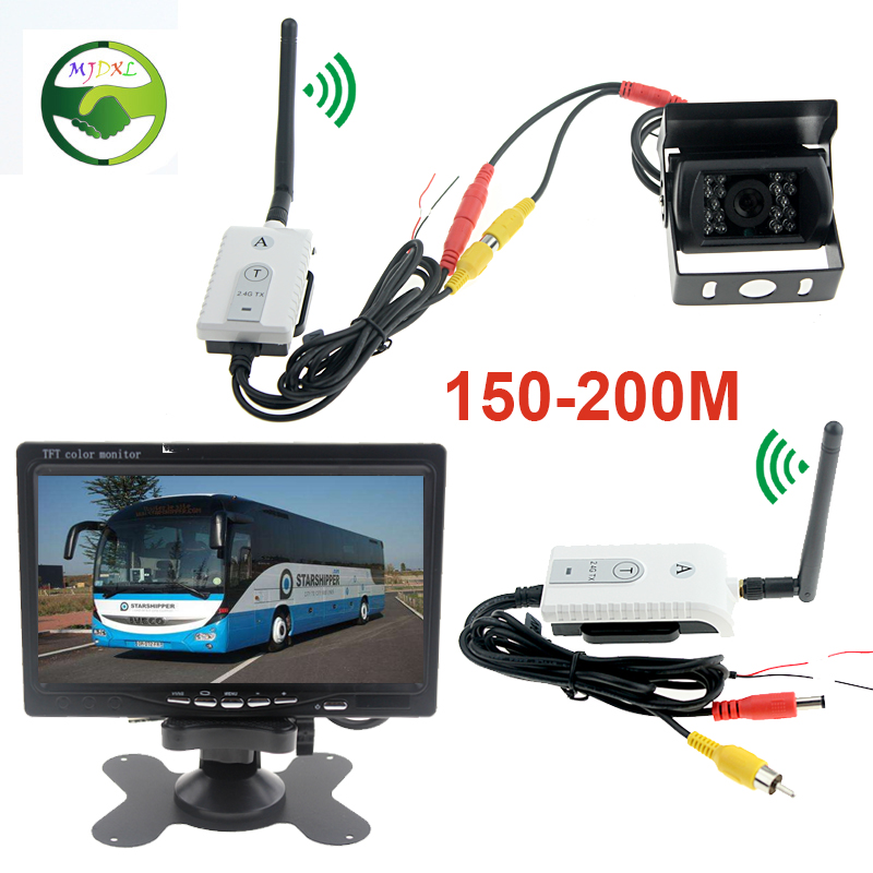 ФОТО 3in1 2.4G Car Video Wireless Adapter Kit 7 Inch Rearview Parking Monitor With Rear View Camera For Truck Bus Vehicle