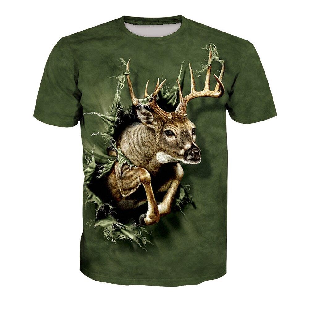 Gótico Animal Print t-shirt de Fitness Casual Tops de Verão New Arrival Plus Size Camisetas Veados Harajuku 3D T camisas Roupas de Verão