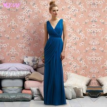 Blue Chiffon Bridesmaid Dresses Long Wedding Party Gown V-Neck Pleats Zipper Back Floor Length Vestido De Festa