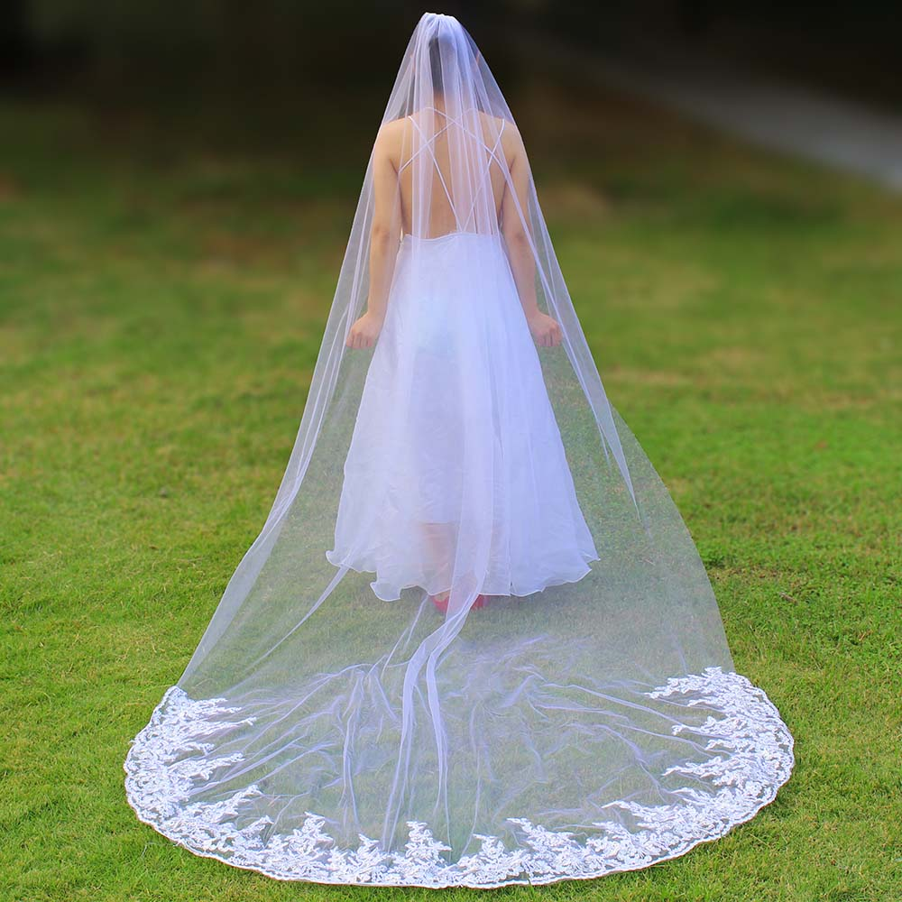 Wedding-Veil Sequins One-Layer Comb Lace Ivory Real-Photos-Sparkly White 3-Meters