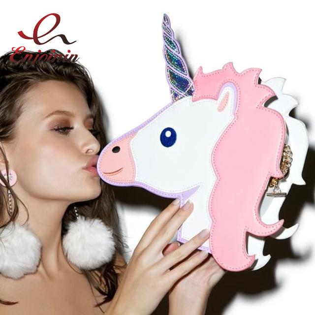 2017 Fun fashion personality fashion trends laser unicorn modeling mini chain shoulder bag ladies handbag messenger bags purse
