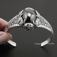 ОГРОМНЫЙ черный оникс Твердые стерлингового серебра 925 мужские Байкер Браслет 9A004