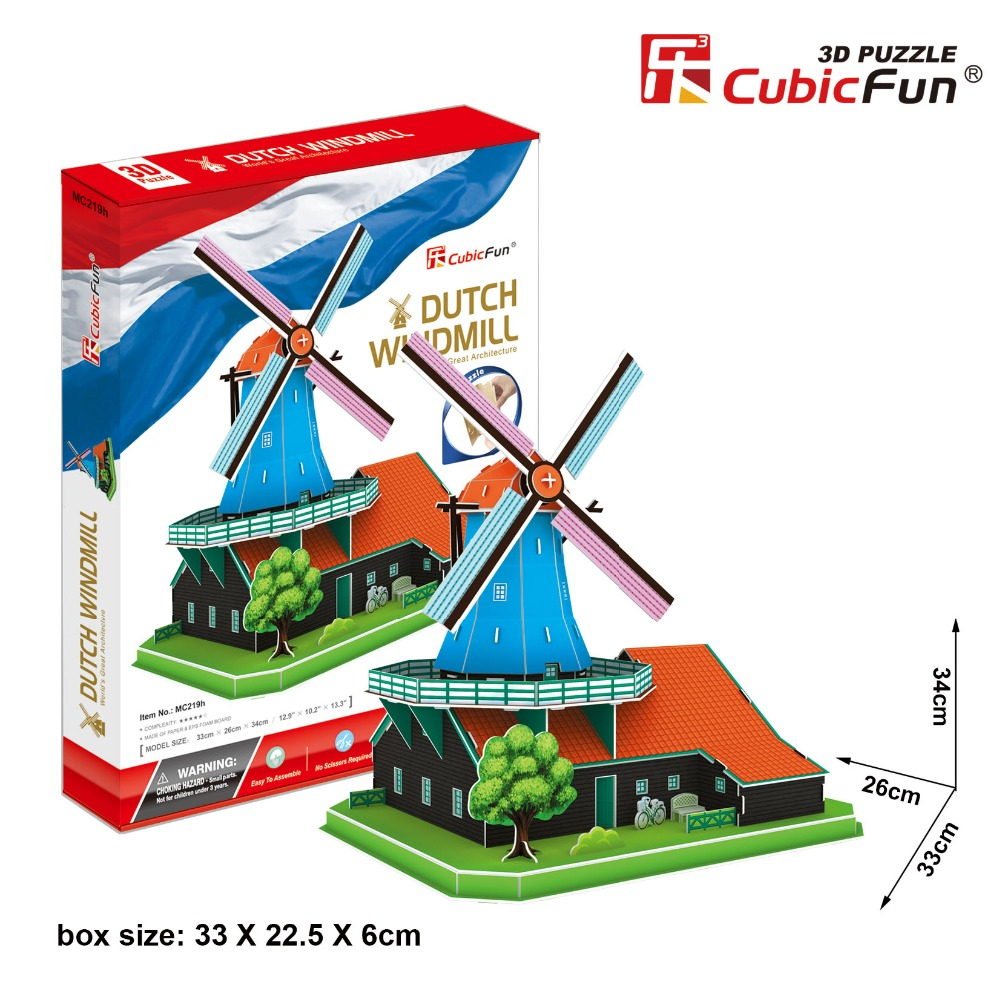 Cubicfun 3D paper model DIY toy birthday gift puzzle wolrd's great architecture Holland Netherlands Dutch windmill MC219h 1pc cubicfun 3d paper model diy puzzle toy gift the spanish armada fleet philip ship boat t4017h children birthday free shipping