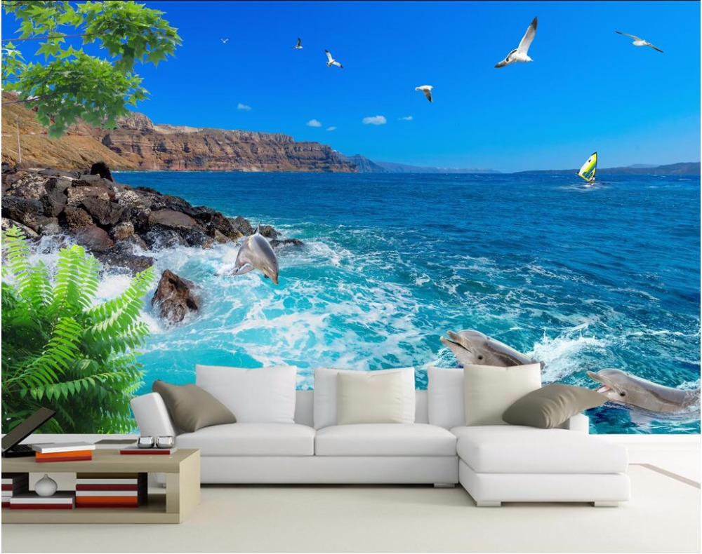 compare prices on sky murals online shopping buy low price sky custom mural 3d room wallpaper blue sky the sea gull dolphins decoration painting picture 3d wall