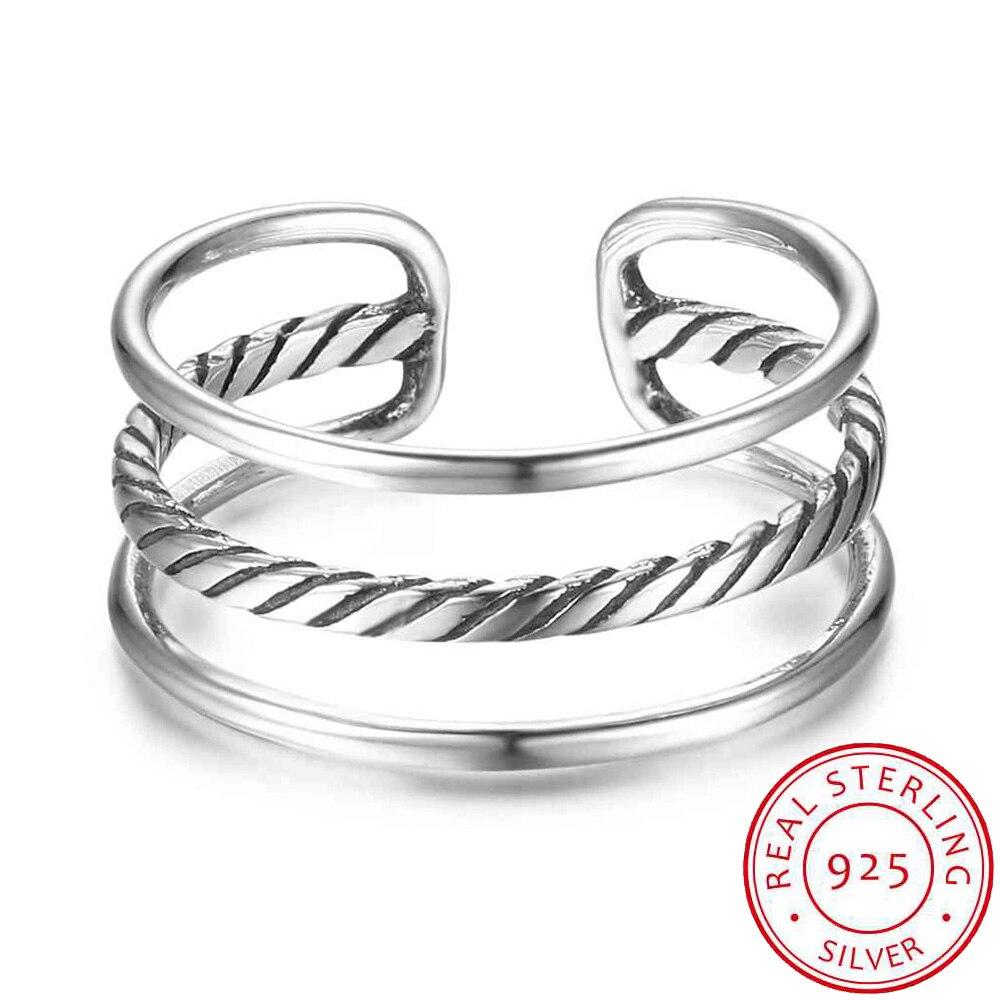 Las mujeres 925 anillos de plata esterlina abierto anillos de dedo ajustable 3 capas de joyería de estilo Vintage, regalo para las niñas (RI102700)