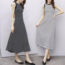 Yfashion Casual Cotton Women Dress Summer Striped Round Collar Slim Black White Stripe Dresses Sleeveless for women
