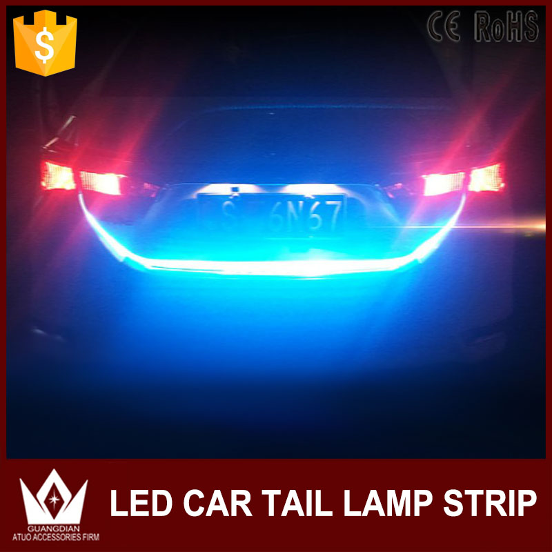 Flexible LED Car Tail Light Bar For Citroen c5 and peugeot 3008 Red and blue Running/Brake/Reverse/Signal/Rear Strip Light car styling tail lights for toyota highlander 2015 led tail lamp rear trunk lamp cover drl signal brake reverse