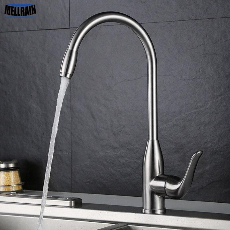 Nouveau design robinet de cuisine en acier inoxydable brossé évier mélangeur d'eau rotatif monotrou robinet pont monté de haute qualité