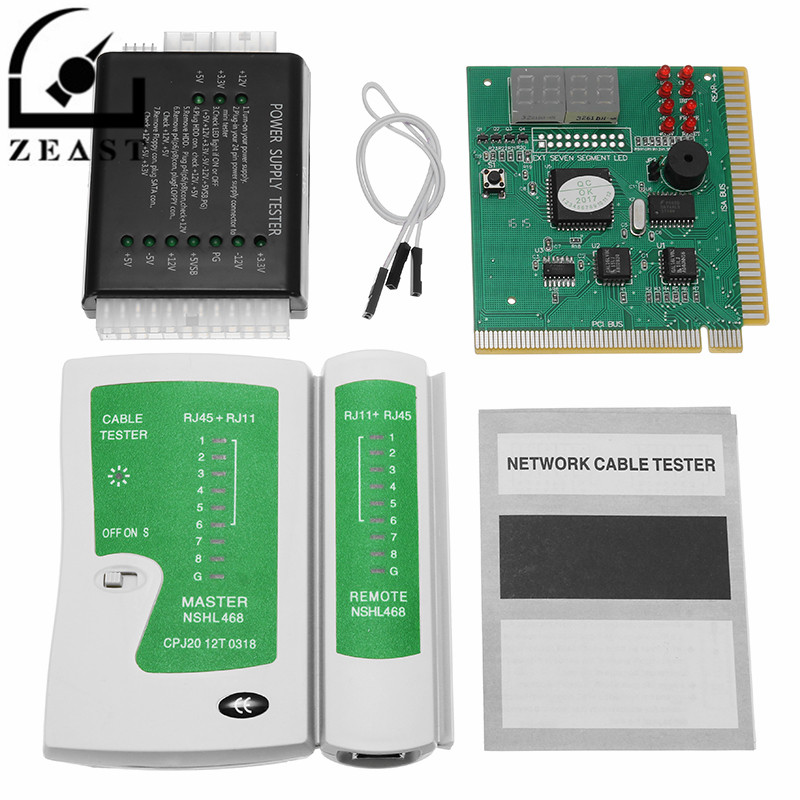 PC Network Test Kit Motherboard POST Analyzer Computer Power Supply Cable Tester Networking Tool Kit