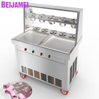 BEIJAMEI 2019 New commercial fry yogurt making 110v 220v Thai fried ice cream maker frying pan machine for ice roll