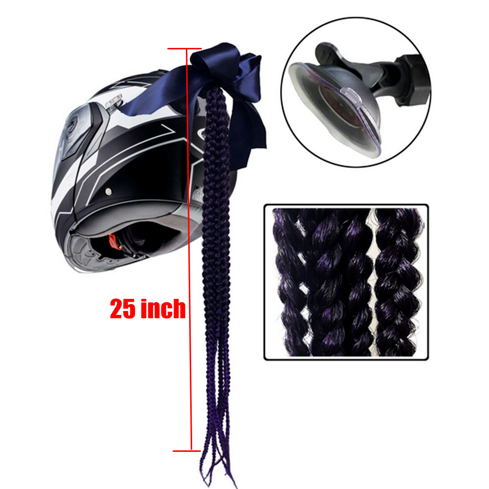 Motorcycle Women Helmet Twist Braids Ponytail Dirty Gradient Ramp Pig Tail Hair Punk Free Style Biker Helmet Decoration in Helmets from Automobiles Motorcycles