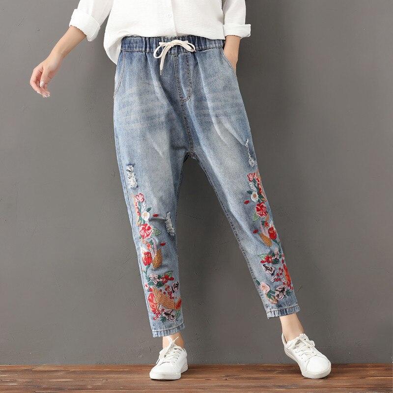 Plus Size 3XL Vintage Lace Up Embroidery Denim   Jeans   Woman Elastic Waist Boyfriend   Jeans   For Women Casual   Jeans   Feminino C4330