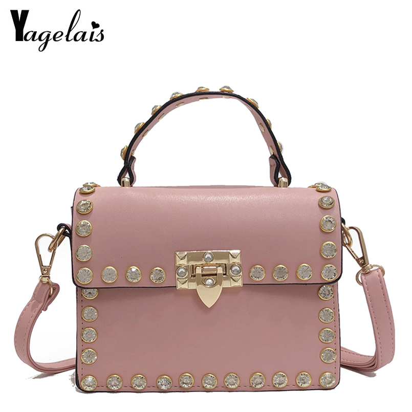 Fashion Women Messenger Bag New Brand Leather Female Shoulder Bag Luxury Diamond Woman Handbags Strap Bags Pink Hand Bags