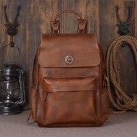100% натуральная телячья кожа Винтаж человек рюкзак ретро Для мужчин Travel Pack 15 ''дюймов Сумка для ноутбука большой Повседневное Для мужчин Бизн